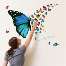 Colorful Flying Butterfly Dream Wall Stickers for kids rooms Decals Bedroom Nursery poster Mural(China)