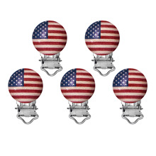 5 pcs Natural Color Round Wood Baby Pacifier Clip Holders US Flag Pattern Infant Soother Clasps Funny Accessories 47x29mm