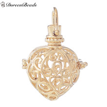 DoreenBeads Copper Wish Box Pendants Heart Carved Hollow Can Open (Fits 16mm Beads) 35mm x 24mm, 1 PC