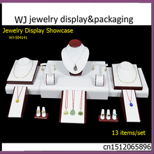 Elegance Red Painted Wooden Set Jewelry Display Stand Counter Showcase For Ring Pendant Necklace Earrings Mixed Organizer Holder