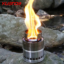 YUETOR folding stainless steel multi fuel firewoods solid alcohol camp stove for outdoor cooking portable wood stove(China)