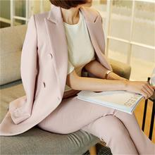 Buy Women's clothing fashion casual suits sets / Female business coat solid color double button suit blazers+pants trousers Set T621 for $48.38 in AliExpress store