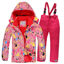 Mioigee 2017 Winter Children's Outwear Printed Jackets Skis Suit Kids Clothing Sport suit for boys and girls clothes for 3-16T(China)