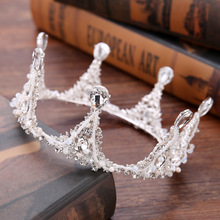 Wedding Hair Accessories Vintage Baroque King Queen Prom Men Crowns Full Round Circle Bridal Hair Jewelry Crystal Tiaras Crowns