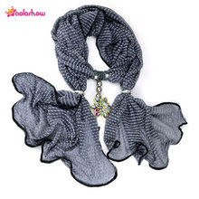 AOLOSHOW Jacquard Chiffon jewelry pendant scarfs necklace for women colorful acrylic flower pendant scarves Neck female ,NL-2020