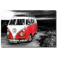 NICOLESHENTING VW Bus Classic Car Art Silk Poster Print 13x20 24x36 inches Picture Living Room Decor 007(China)