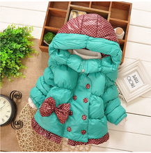 Children Outerwear Baby Girls winter Coats long-sleeved with Bow girl's warm Baby jacket Outerwear Clothes Thick Kids Hooded(China)