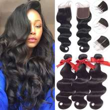 BEAUDIVA Brazilian Hair Body Wave 3 Bundles With Closure Human Hair Bundles With Closure Lace Closure Human Hair Extension(China)