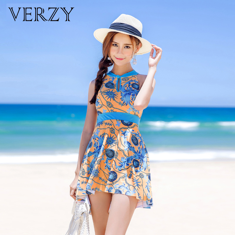 Plus size swimming suits women halter high neck swimwear print backless one piece swimsuit slimming waist dress high quality<br>