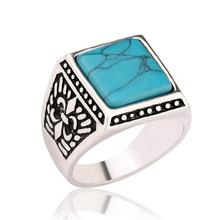 Fashion Women Vintage Antique Silver Signet Ring Male Big Square Green Gem Ring Men Knuckle Finger Ring Ethnic Jewelry(China)