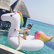 200cm 78inch Giant Unicorn Pool Float Ride-On Swimming Inflatable Ring For Adult Children Water Circle Holiday Party Toy Piscina