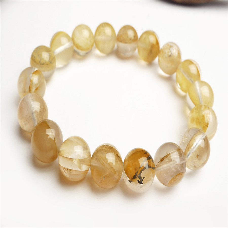 11mm Genuine Natural Yellow Transparent Petrified Wood Tree Crystal Stretch Charm Round Bead Bracelets