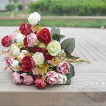 2 Bouquet New 42 Heads Artifical Plastic Rose Wedding Office Home Party Decor Silk Flower(China)