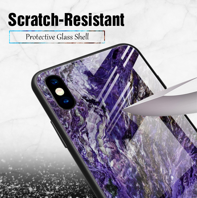 TOMKAS Luxury Marble Phone Case for iPhone X 10 Tempered Glass PC Agate Back Cover Silicone Soft Edge Coque Case for iPhone X (6)