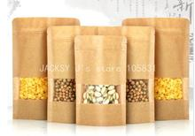 100x Kraft Zip Top Window Bag Mini Pack Stand up Zipper for Coffee, Dried Fruits, Tea , leisure Food Bags Pouches with Valve