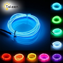 TSLEEN 2M 3M 5M Flexible EL Wire LED Neon Light Tube Glow Strobing Neon LED Lamp Flexible Rope LED Strip With Battery
