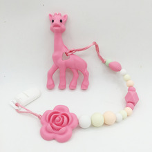 Silicone teething Giraffe Teether Clip ,baby teether pacifier giraffe clip .silicone teething pacifier necklace Hanging Toy(China)