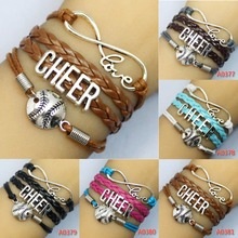 Infinity Love CHEER baseball Team Bracelet Customize Wristband friendship Bracelets