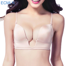 Sexy Satin invisible plunge Bra Women Deep U backless bras u shape multi-way Low cut Push Up Seamless brassiere Dress underwear(China)