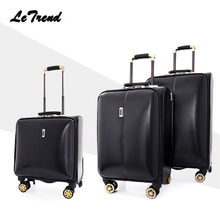 Letrend leather Rolling Luggage Spinner Men Wheel Suitcases 24/16 inch Small Business Trolley Women Cabin luggage Travel Bag(China)
