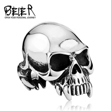 Beier new store 316L Stainless Steel ring top quality new Designed products Man's Vampire Skull Ring  Fashion Jewelry LLBR8-149R