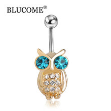 Gold Owls Blue Piercings Bird Navel Belly Rings Sexy Bikini Body Jewelry Women Girls Belly Button Rings Summer Holiday Bijoux(China)