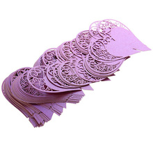 50PCS purple Love Heart cardstock paper Name Place Cards Wine Glass Cards Table Wedding Party table Decoration