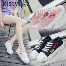 Kjstyrka 2018 zapatos mujer mulheres sapatilhas flats casual sapatos estrela  da moda lace-up lona 3ccdf52214923