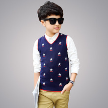 2018 Autumn Winter V-neck Boys Sweaters Baby Kids Boys Knitted Vest Cardigan School Uniform Style Sweater Children's Clothing(China)