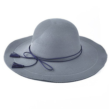 FS Faux Cashmere Wool Fedoras Solid Wide Large Brim Hats For Women Vintage Tassel Lace-Up Felt Floppy Hat(China)