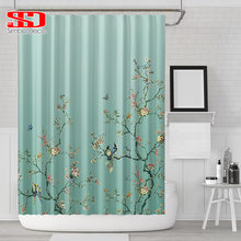 Chinese Birds Gradient Shower Curtains For Bathroom Magpies And Plants Green Waterproof Fabric Polyester Bath Decor 180 X 180cm