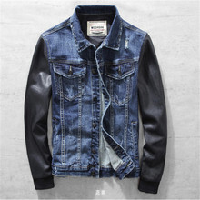 Men's Denim Jackets With Leather Sleeve Vintage Male Stitching Leather Outerwear Motorcycle Denim Jaqueta Jeans Masculina A1513(China)