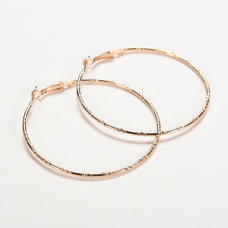 Simple Gold Color Big Hoop Earring For Women Statement Jewelry Accessories Large Circle Round Loop Earrings Graceful Minimalist