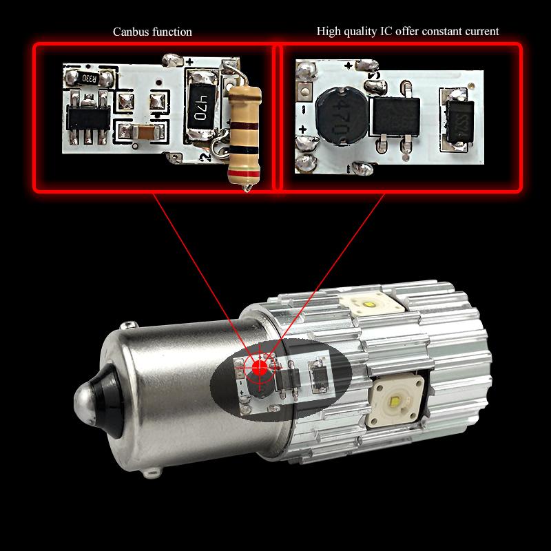 CNSUNNYLIGHT 2pcs 1156 LED BA15S P21W BAU15S PY21W S25 5Osram Chips 6000K White DRL Car Tail Fog Bulbs Brake Light Reverse Lamp (6)