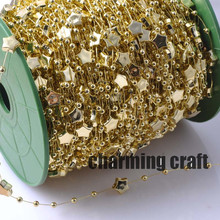 Fishing Line Gold Star pattern plastic Beads Chain Garland Flowers DIY Wedding Party Decoration5 Meters CP0313x(China)