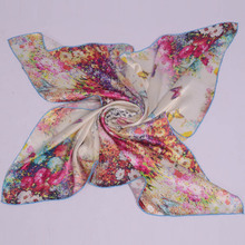 Mulberry Silk Female Big Square Silk Scarf,Women 100% Silk Crepe Satin Plain Large Butterfly Silk Scarf Shawl For Spring,Autumn(China)