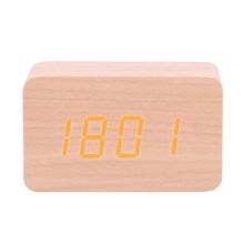 Mini Digital LED Alarm Clock Voice Wooden Clock Electronic Desktop Clock USB/AAA Powered Temperature Display