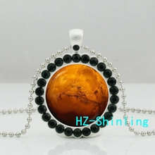 New Planet Mars Necklace Glass Solar System Jewelry Planet Mars Crystal Pendant Necklace Ball Chain
