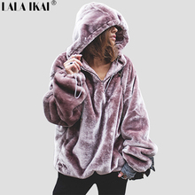 Chic Thick Striped Pattern Loose Style Women Cap Hoodies Big Pocket High Street Oversize Female Fashion Sweatshirt SWR0275-45(China)