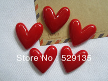 Free Shipping! Resin Hot Red Heart, Flat back Cabochons for Hair Bow Center, Scrapbooking, Embellishment, DIY (28*26mm)
