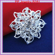 Silver Plated Small Crystal Flower Brooch/Wedding Bridal Bouquet Pin/Wedding Invitation/Decoration Jewelry