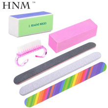 HNM 6 Pcs/lot Nail Art Buffer File Durable Buffing Grit Sand Block Manicure Nail Sponges Files Nail Cleaning Brush(China)