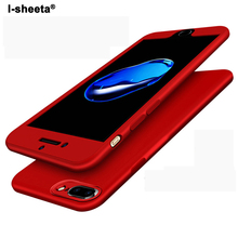 I-sheeta Full Body Protective Case For iPhone 7 6 6S Plus Metal Paint Surface Hard Front PC + TPU Back Cover For iPhone 7 Plus