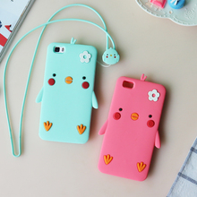 For Huawei P8 lite Soft Silicone Case with Cartoon cute Lanyard anti-knock yellow chick full protection cover for huawei p8 lite