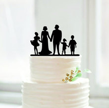 Unique Silhouette Wedding Cake Topper Personalized Family Members Cake Topper for Anniversary Acrylic Modern Wedding Decoration