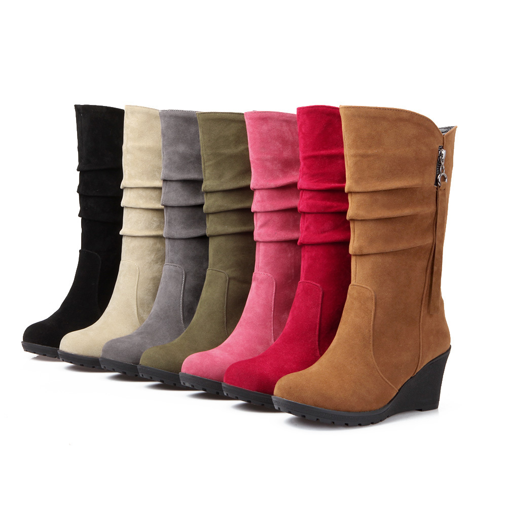 New Sales 7 Colors Black Red Brow Green Women Mid Calf Wedge Boots Ladies Winter Shoes A188-2 Plus Big Size 32 49 10 13<br><br>Aliexpress
