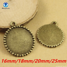 MINGXUAN 10pcs/lot jewelry Antique Bronze findings cabochon settings blank pendant Tray inner 16mm/18mm/20mm/25mm C770