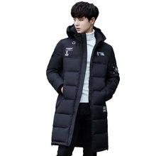 0513ebcc05479 2018 Parka de invierno chaqueta de los hombres Delgado largo grueso algodón  acolchado cálido abrigo ropa