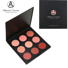 Attractive Scenery Brand 9 Color Blush Palette Make up Pallete Face Blusher Contour Powder Palette Cosmetic Facial Foundation(China)