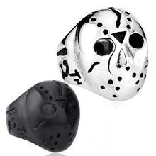 Silver Black color the 13th Kill Jason Voorhees Hockey Mask sale stainless steel ring fasion jewelry Fast shipping STR5-013(China)